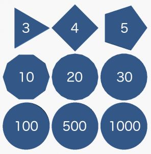 Figure 1 - 9 polygons. The numbers indicate how many sides each one has.